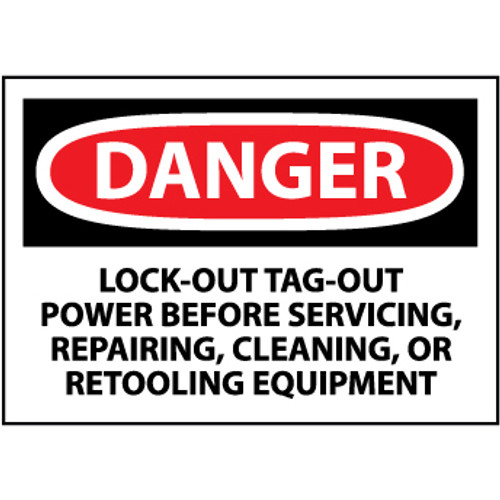 Danger Lockout Tagout Power Before Servicing Repairing Cleaning 3x5 Vinyl Safety Label 5 Per Package