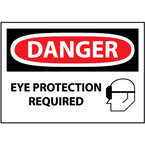 Danger Eye Protection Required, Graphic 10x14 Rigid Plastic Sign