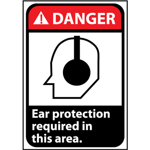 Danger Ear Protection Requied In This Area, Graphic 10x7 Pressure Sensitive Vinyl Sign
