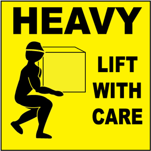 Heavy, Lift With Care, 4x4, Pressure Sensitive Paper, 500 per Roll, Shipping and Packing Labels