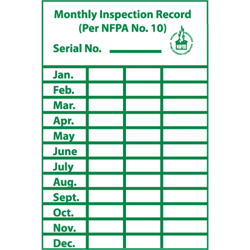 """Monthly Inspection Record, 3""""X2"""", Pressure Sensitive Paper Label"""