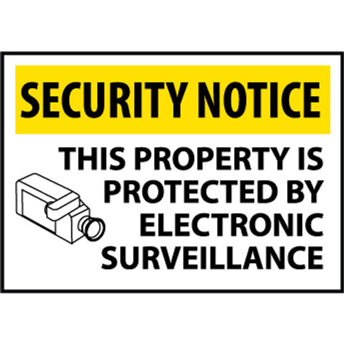 Security Notice This Property Is Protected By Electronic Surveillance, 14x20 .040 Aluminum Sign