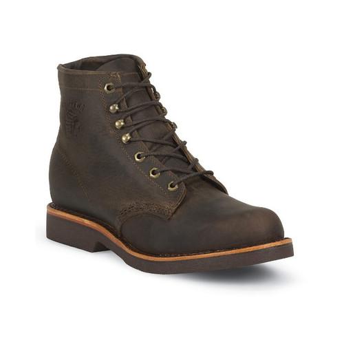 "Chippewa Men's 6"" Classic Chocolate Apache Boots Soft Toe - SIZE 9"