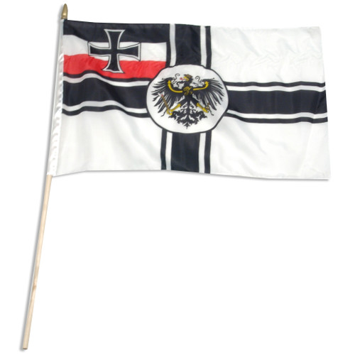 "German Imperial War Ensign (1871-1919) 12"" x 18"" Stick Flag"