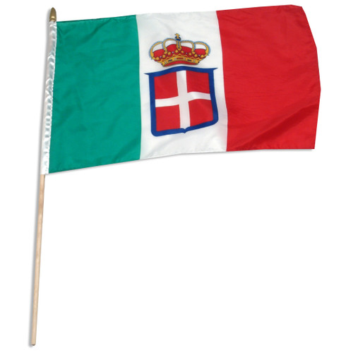 "Kingdom of Italy Navy Ensign (1848-1946) 12"" x 18"" stick flag"
