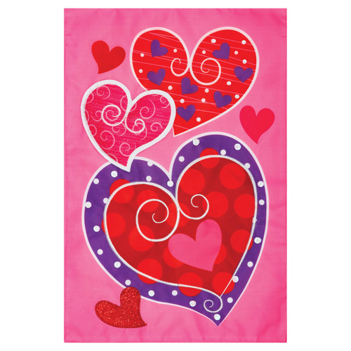 Valentines Day Applique Garden Flag - Whimsy Hearts