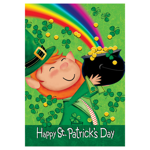 St. Patrick's Day Garden Flag -  Lucky Leprechaun