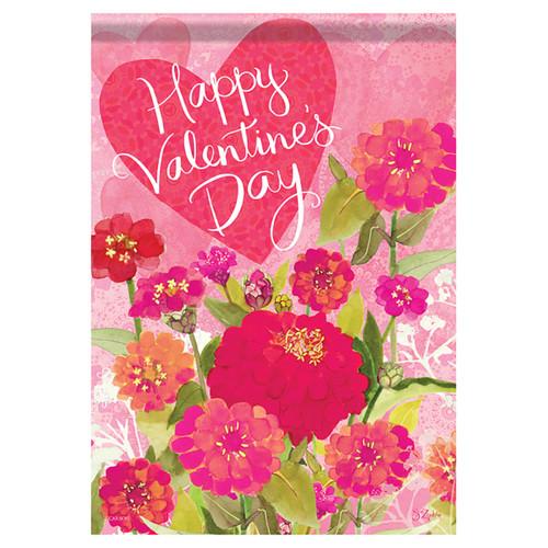 Valentine Garden Flag - Valentine Zinnias