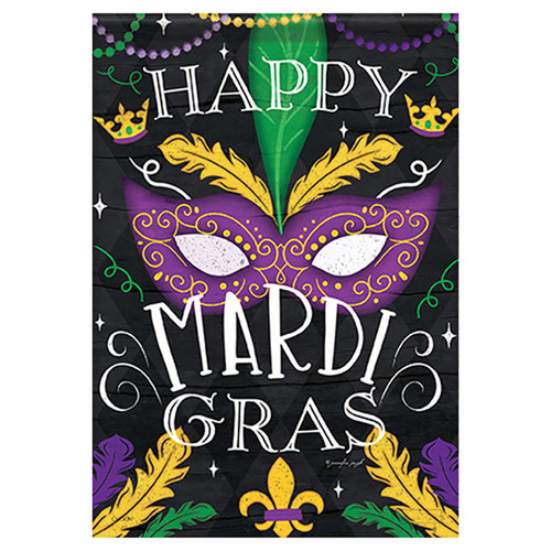 Mardi Gras Banner Flag - Beads & Feathers