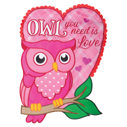 Valentine Applique Garden Flag - Owl You Need is Love