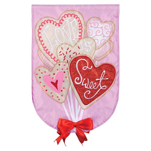 Valentine Applique Garden Flag - Cookie Bouquet