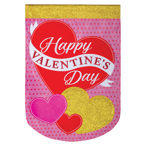 Valentine Applique Garden Flag - Glitter & Hearts
