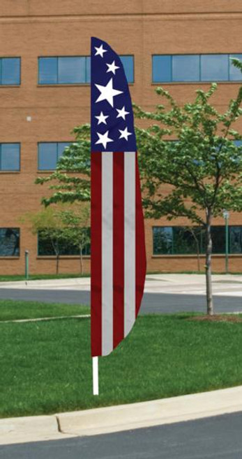 Feather Patriotic Banner Flag - Vertical Stripe