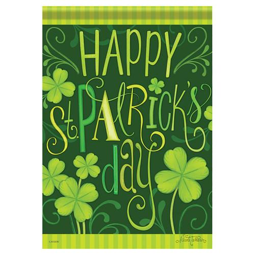 St. Patrick's Day Garden Flag - Stripes & Shamrocks