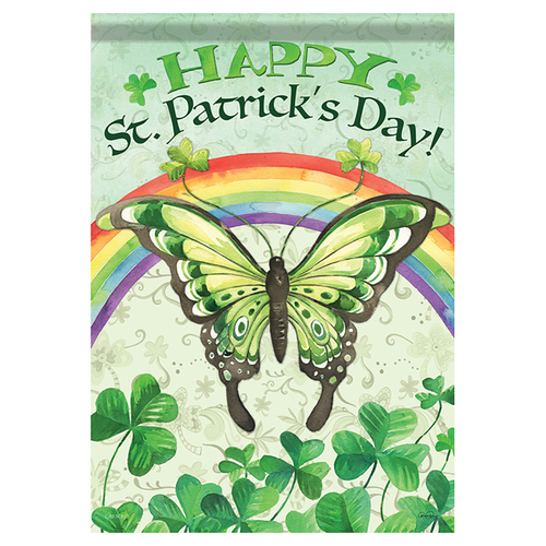 St. Patrick's Day Banner Flag - Butterfly Luck