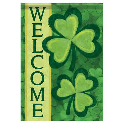 St. Patrick's Day Garden Flag - Shamrock Welcome