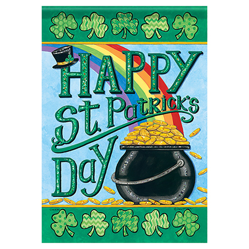 St. Patrick's Day Banner Flag - Rainbows & Gold