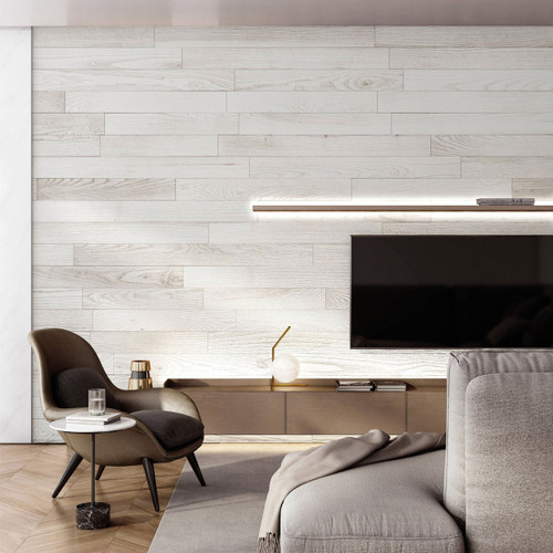 NaturaPlank Peel and Stick Wood Wall Cladding - Antique White