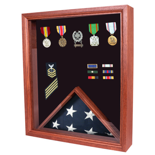 Lincoln Military Flag Display Case for 3' x 5' Flag - Cherry