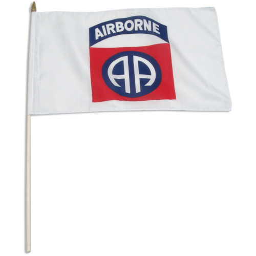 "82nd Airborne 12"" x 18"" mounted on 24"" wooden stick"