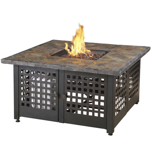 "The Elizabeth - LP Gas Outdoor Fire Pit w/ 42"" Slate Tile Mantel"