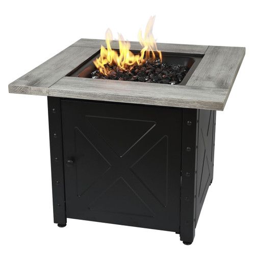 """The Mason - 30"""" Square Gas Outdoor Fire Pit w/ Cement Resin Mantel"""