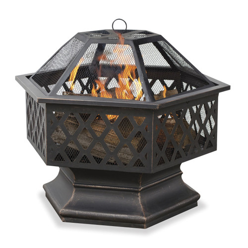 Oil Rubbed Bronze Wood Burning Outdoor Fire Bowl w/ Lattice Design