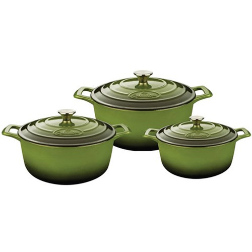 La Cuisine Pro Range 6 Piece Cast Iron Kitchen Set w/ Trivet - Olive Green