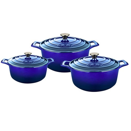 La Cuisine Pro Range 6 Piece Cast Iron Casserole Dish Kitchen Set - High Gloss Sapphire Blue