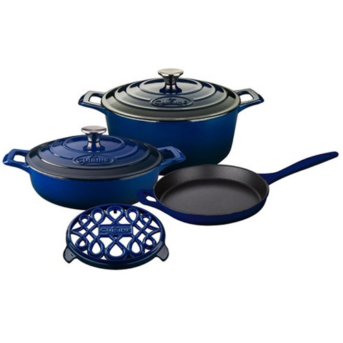 La Cuisine Pro Range 6 Piece Cast Iron Kitchen Set w/ Trivet - Ultramarine Blue