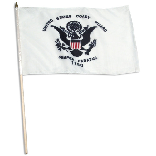 "US Coast Guard 12"" x 18"" mounted on 24"" wooden stick"