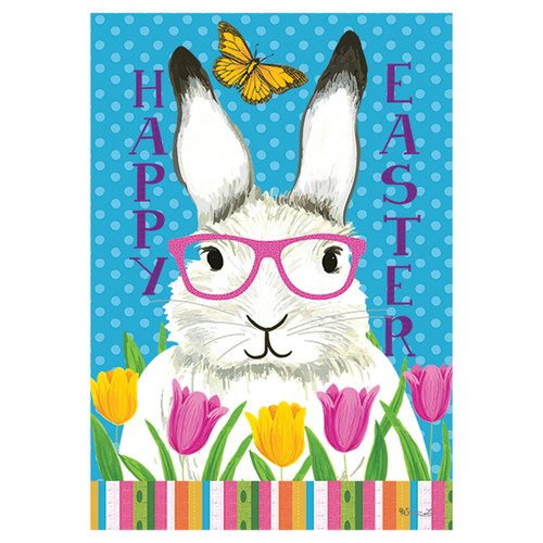 Easter Garden Flag - Bunny with Glasses