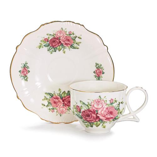 Pink Roses Porcelain Teacup & Saucer