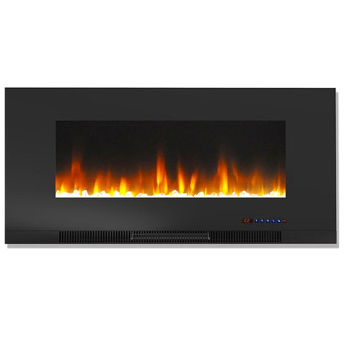 """Cambridge 42"""" Color Changing Wall Mount Fireplace w/ Crystals - Black"""