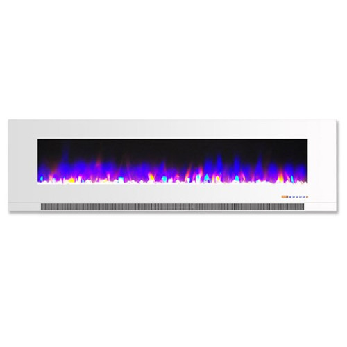 """Cambridge 60"""" Color Changing Wall Mount Fireplace w/ Crystals - White"""
