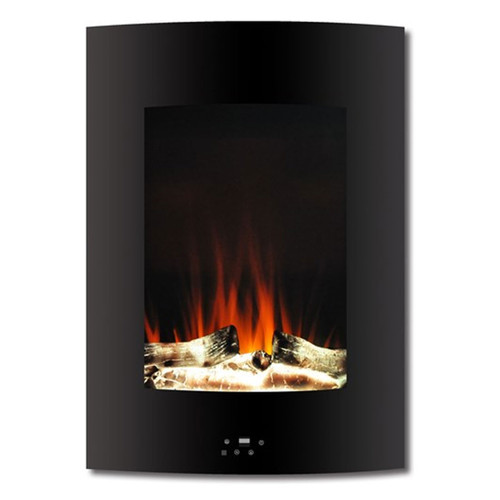 """Cambridge 19.5"""" Vertical Color Changing Wall Mount Fireplace w/ Logs - Black"""