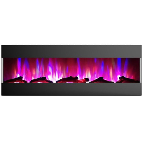 """Cambridge 60"""" Recessed Wall Mount Electric Fireplace w/ Logs - Black"""