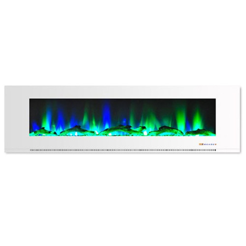 """Cambridge 72"""" Color Changing Wall Mount Fireplace w/ Logs - White"""