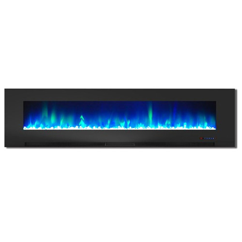 """Cambridge 78"""" Color Changing Wall Mount Fireplace w/ Crystals - Black"""