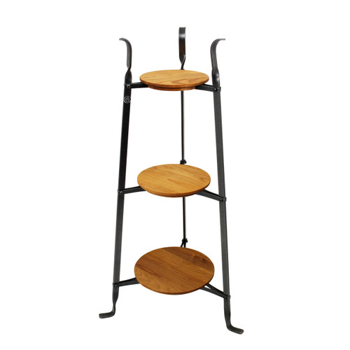 Enclume 3-Tier Designer Stand w/ Alder Shelves - Hammered Steel