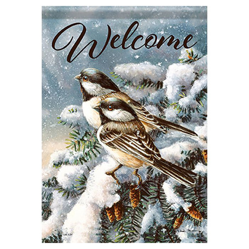 Carson Winter Banner Flag - Chickadees in Spruce