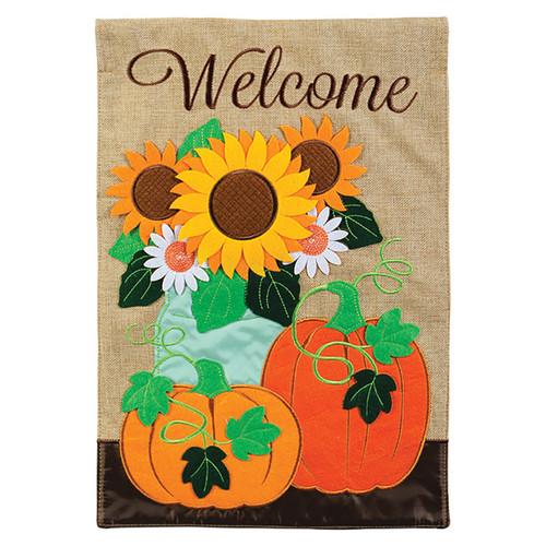 Carson Fall Applique Garden Flag - Burlap Pumpkin Floral