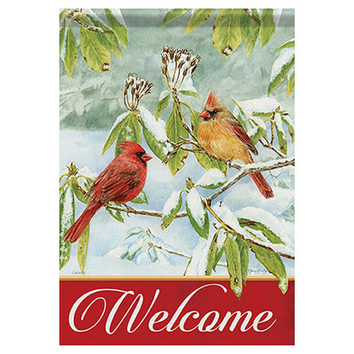 Carson Winter Banner Flag - Cardinals in Snow