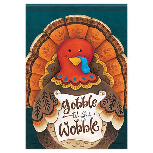 Thanksgiving Banner Flag - Gobble Til You Wobble