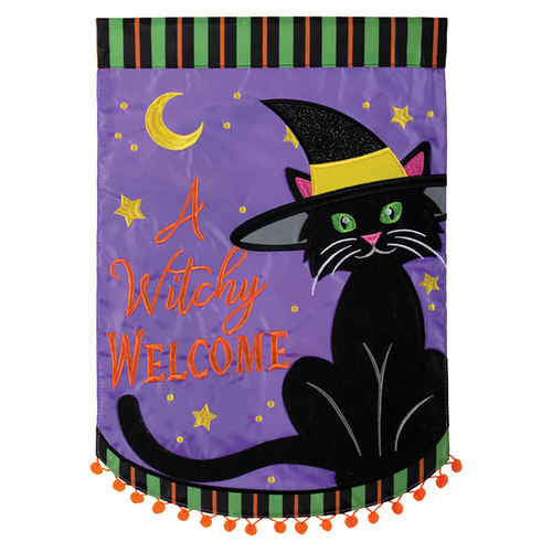 Carson Applique Garden Flag - A Witchy Welcome