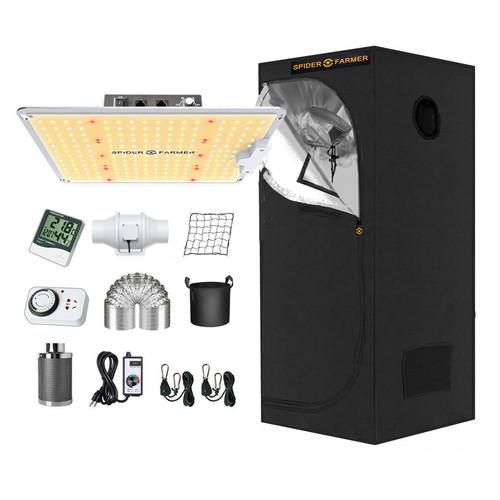 LED Full Spectrum Indoor Grow Light & Tent Kit - 100W - Spider Farmer