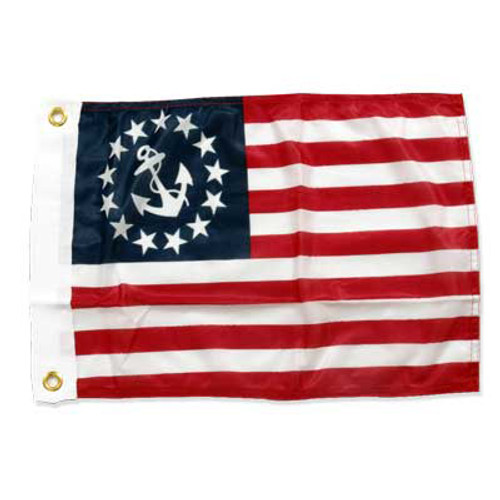 U.S. Yacht Anchor Flag 12in x 18in Super Knit Polyester Double Sided
