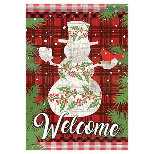 Carson Christmas Garden Flag - Holly Berry Snowman