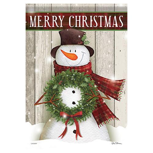 Carson Christmas Banner Flag - Merry Snowman