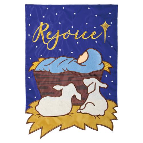 Carson Christmas Applique Garden Flag - Rejoice